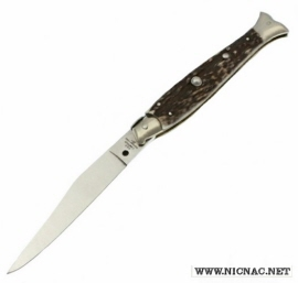 Italian Fish Tail Pick Lock Automatic Knife A.G.A. Campolin in Stag