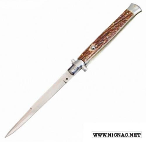 Italian Switchblades unique blades w no safety - 13 inch Stag