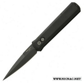 Protech Knives Godfather Auto SOLID Black w BLACK Plain 921
