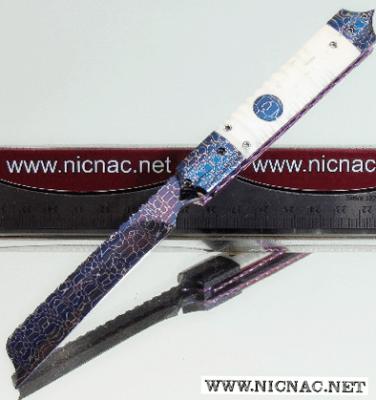 Rainy Vallotton mini razor automatic knife in mammoth ivory