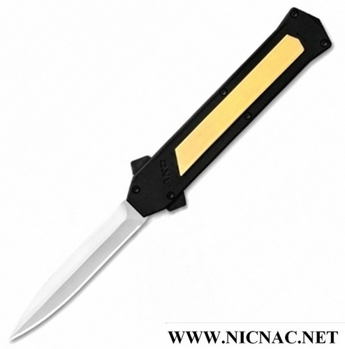 Italian AKC F-16 Brass OTF Automatic Double Action Double Edge Dagger