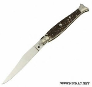 italian fish tail pick lock automatic knife campolin 10 inch stag